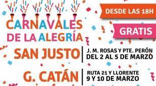 """Los """"Carnavales de la Alegría 2019"""" continúan su recorrido en San Justo y González Catán"""