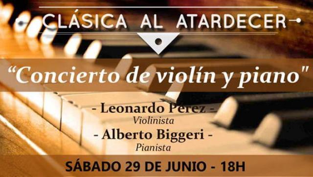 """""""Concierto de piano y violín"""" en La Matanza"""