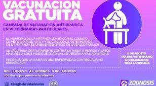 Vacunación antirrábica gratuita en veterinarias de toda La Matanza
