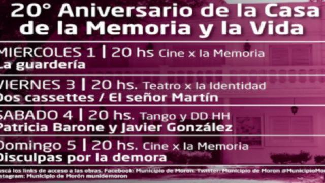 Conmemoración del 20º aniversario de la Casa de la Memoria y la Vida de Morón