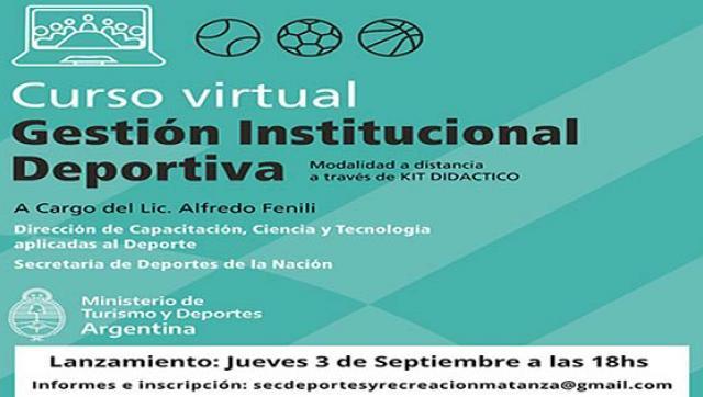 Curso virtual  de Gestión Institucional Deportiva