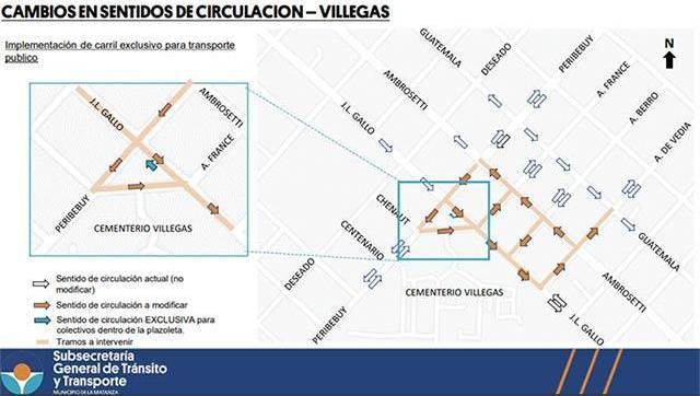 Cambio de sentido en calles de Villa Constructora