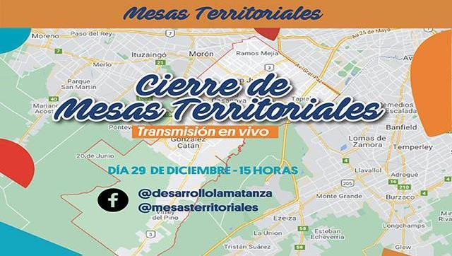 Las Mesas Territoriales de la Secretaría de La Matanza cerrarán el año de manera virtual